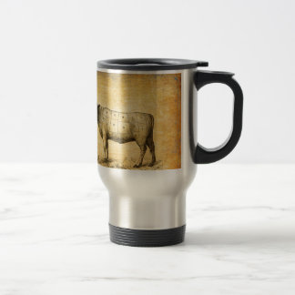 vintage beef chart with numbered cuts travel mug