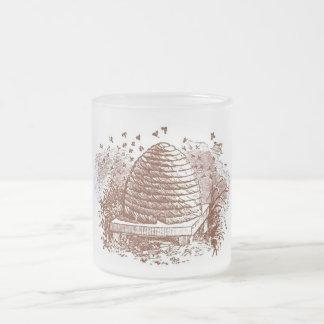 Vintage Beehive Beekeeping 10 Oz Frosted Glass Coffee Mug