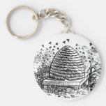 Vintage Beehive Honey Bees Beekeeping Basic Round Button Keychain