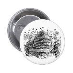 Vintage Beehive Honey Bees Beekeeping Button