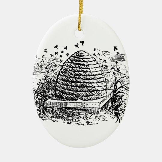Vintage Beehive Honey Bees Beekeeping Ceramic Ornament