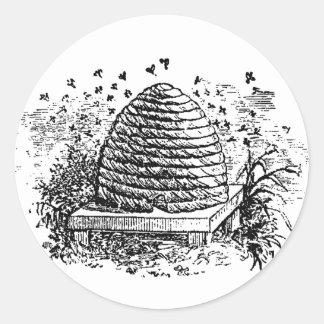 Vintage Beehive Honey Bees Beekeeping Classic Round Sticker