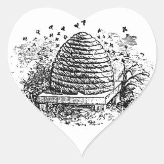 Vintage Beehive Honey Bees Beekeeping Heart Sticker