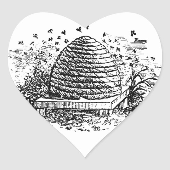Vintage Beehive Honey Bees Beekeeping Heart Sticker