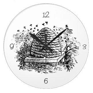 Vintage Beehive Honey Bees Beekeeping Large Clock