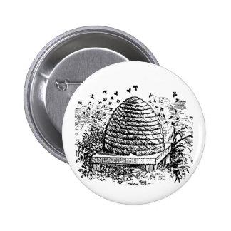 Vintage Beehive Honey Bees Beekeeping Pinback Button