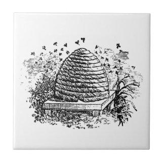 Vintage Beehive Honey Bees Beekeeping Tile