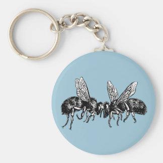 vintage beekeeper basic round button keychain