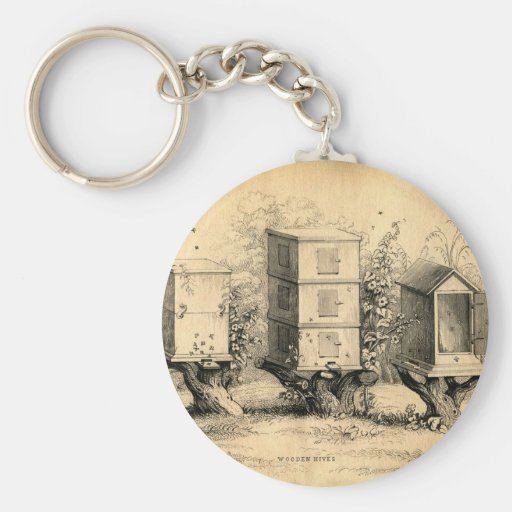 Vintage Beekeeping Beehives Beehive Basic Round Button Keychain