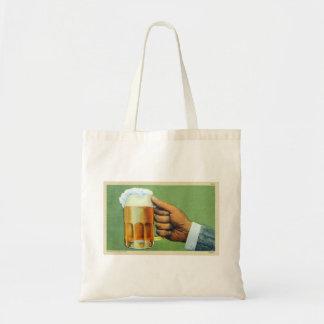 Vintage Beer Bier Frosty Mug Postcard Tote Bag
