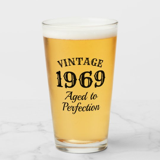 Vintage Beer Drinking Glass Gift For 50th Birthday