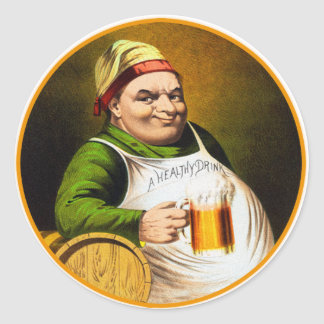 Vintage Beer German Beer Drinker Healthy Drink Classic Round Sticker