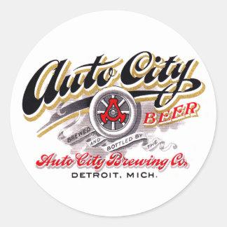 Vintage Beer Logo Label Auto City Beer Detroit Classic Round Sticker