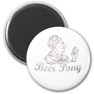 Vintage Beer Pong King 2 Inch Round Magnet