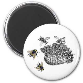 Vintage Bees 2 Inch Round Magnet