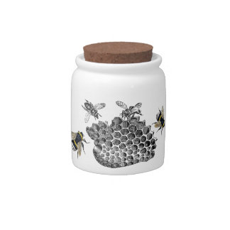 Vintage Bees and honey comb Candy Jar