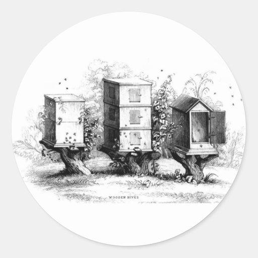 Vintage Bees Beekeeping Beehives Beehive Classic Round Sticker