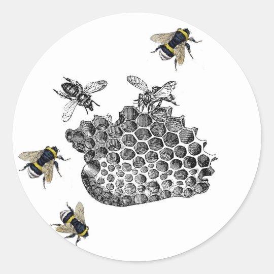 Vintage Bees Classic Round Sticker