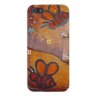 Vintage Bees & Daisies Leather Look iPhone 5 Case