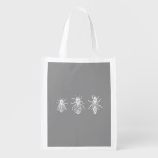 Vintage Bees Gray White Antique Insects 1800s Grocery Bag