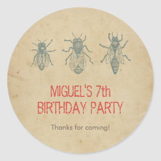 Vintage Bees Kids Birthday Party Favors Thank You Classic Round Sticker