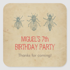 Vintage Bees Kids Birthday Party Favors Thank You Square Sticker