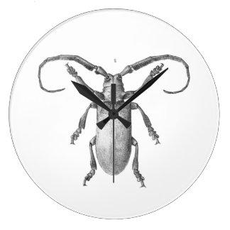 Vintage beetle illustration clock