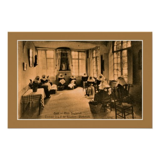 Vintage Beguines lace making in Ghent (Gent) Poster