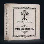 """Vintage Beige Aged Paper Family Cookbook Binder<br><div class=""""desc"""">A fun,  vintage label look for this personalized family cookbook binder.</div>"""