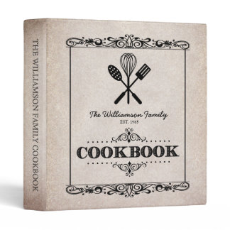 Vintage Beige Aged Paper Family Cookbook Binder
