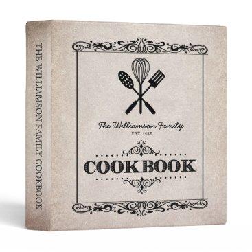reflections06 Vintage Beige Aged Paper Family Cookbook Binder