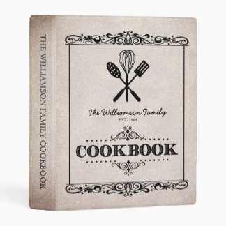 Vintage Beige Aged Paper Family Cookbook Mini Binder