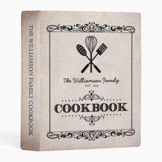 Vintage Beige Aged Paper Family Cookbook Mini Binder