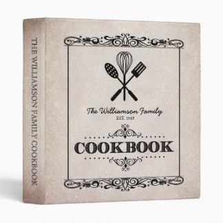 Vintage Beige Aged Paper Family Cookbook Vinyl Binders