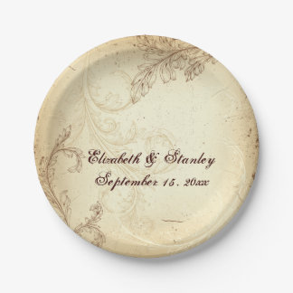 Vintage beige and brown scroll leaf wedding paper plate