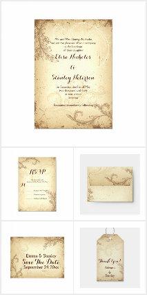 Vintage beige brown scroll leaf wedding collection