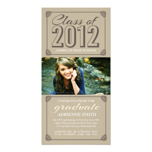 Vintage Beige Class of 2012 Photo Graduate Card Custom Photo Card