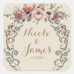Vintage Beige Elegant Botanical Floral Wedding Square Sticker