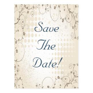 Vintage Beige Floral Wedding Save The Date Postcard