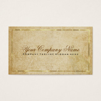 Vintage Beige Paper Background Gold Accents Business Card