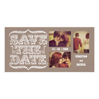 Vintage Beige Save the Date Typography Photo Card