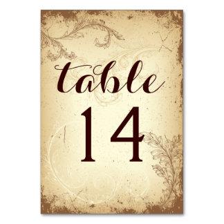 Vintage beige scroll leaf wedding table number
