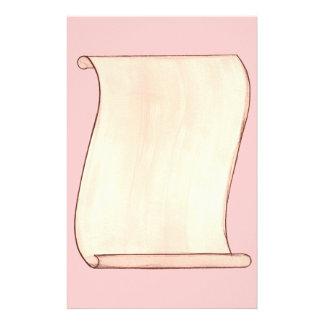 Vintage Beige Scroll on Pink Stationery