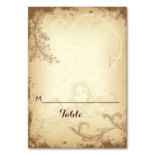 Vintage Beige Scrollleaf Wedding Folded Place Card