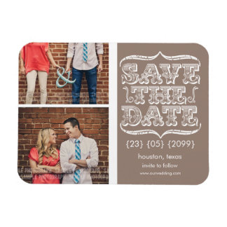 Vintage Beige & White Save the Date Photo Magnet
