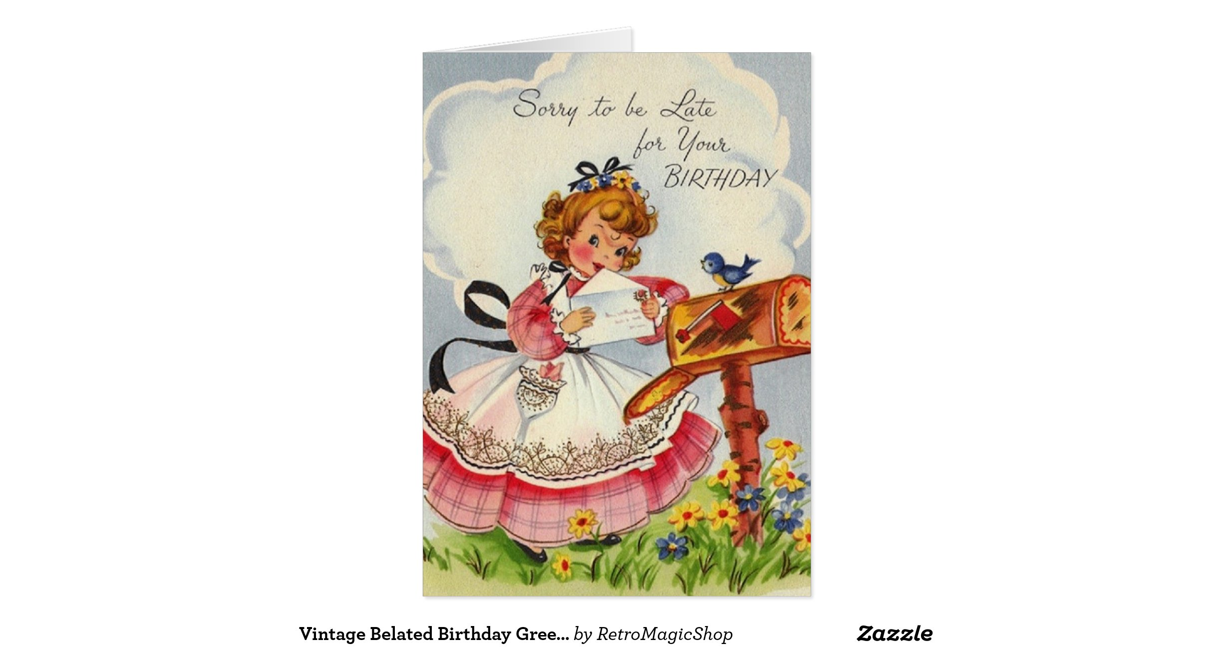 Snap Vintage Belated Birthday Greeting Card Zazzle Photos On