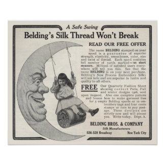 Vintage Belding's Silk Ad from 1906 Poster
