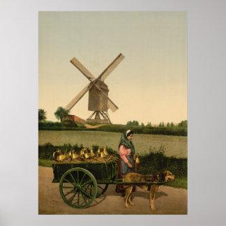 Vintage Belgian Milkmaid (Laitière Belge) Poster