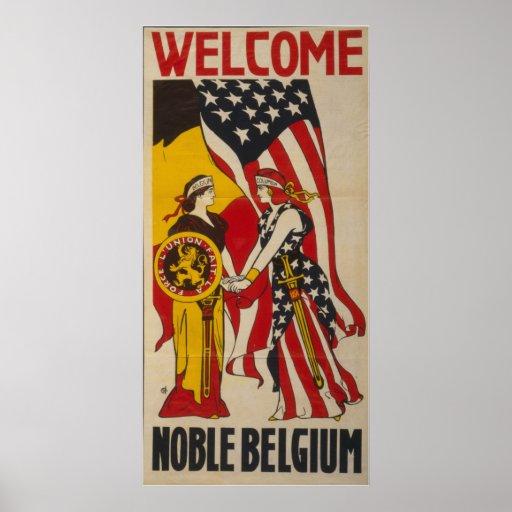 Vintage Bélgica noble agradable Póster