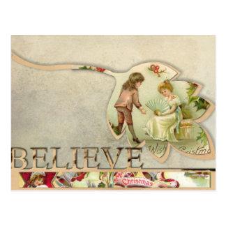 "Vintage ""Believe"" Christmas Postcard"